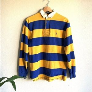 Men's POLO Striped Long Sleeve Rugby Kanye Small